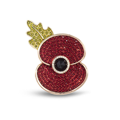 Remembrance 2019 Poppy Crystal Gold Tone Medium Brooch