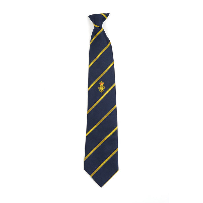 Navy and gold stripe single motif tie