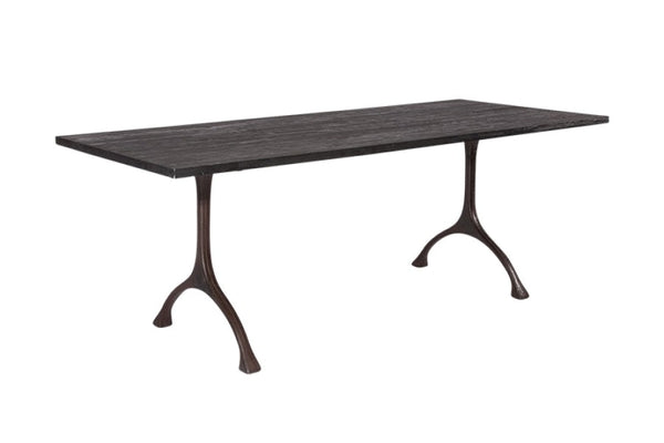 Charcoal Dining Table - Brass Legs