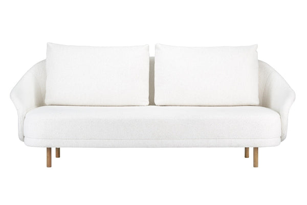 New Wave Two-Seater Sofa, Natural Legs - White