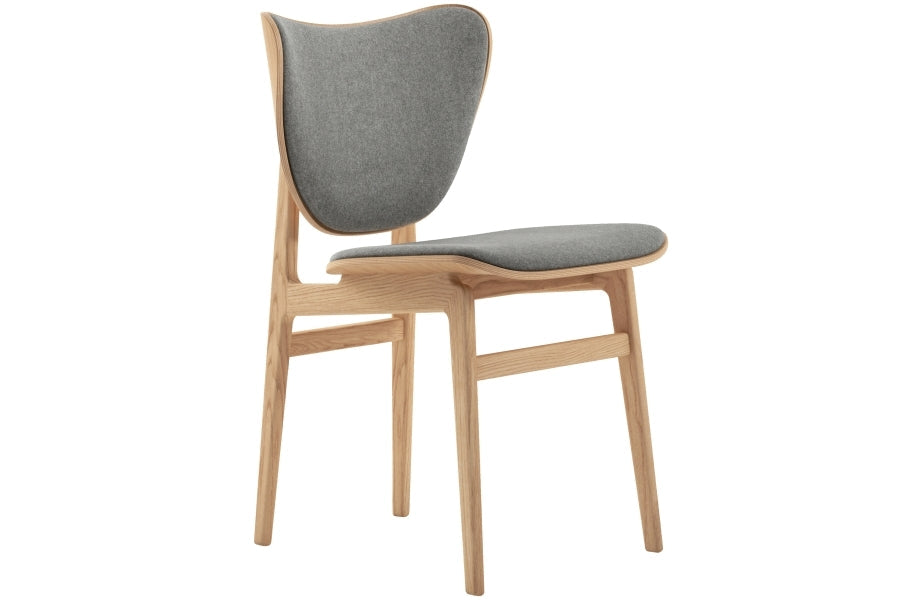 Elephant Dining Chair Wool, Light Grey - Natural Frame