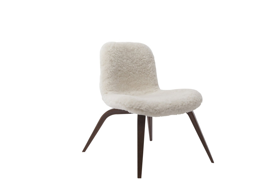 Goose Lounge Chair Sheepskin, White - Dark Stained