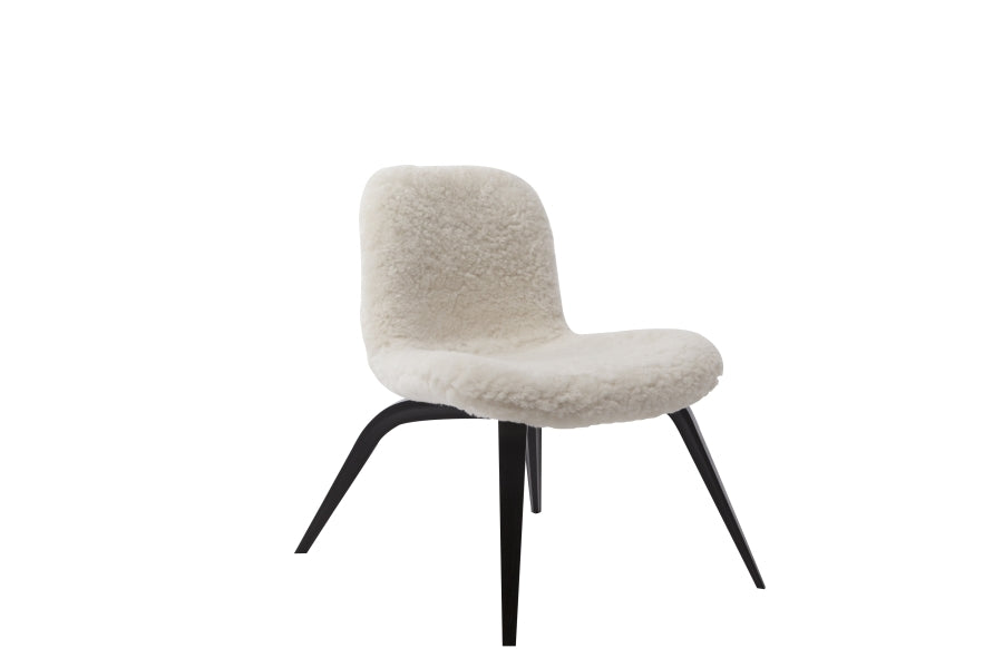 Goose Lounge Chair Sheepskin, White - Black