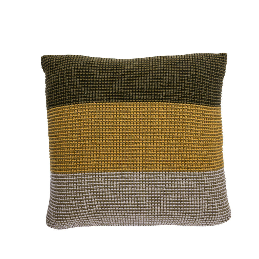 Wave Cushion, Moss Green-Yellow