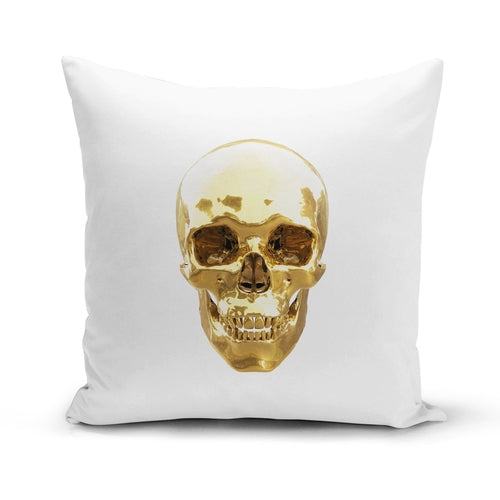 Golden Skull Pillow Cover