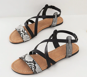 Casual Snake Print Buckle Sandals