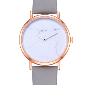 Leather Band Marble Watch