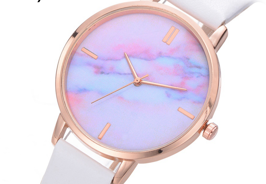 Leather Rainbow Marble Watch