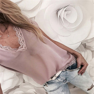 Casual Loose Short Sleeve Lace Top
