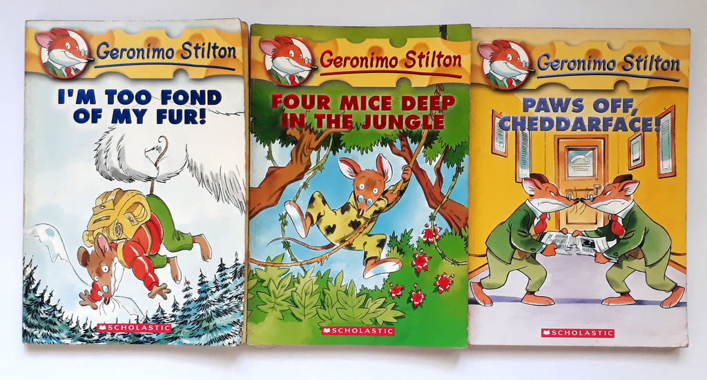 Geronimo Stilton Books (Book 4, I'm Too Fond Of My Fur; Book 5, Four Mice Deep In The Jungle; Book 6, Paws Off, Cheddarface!)