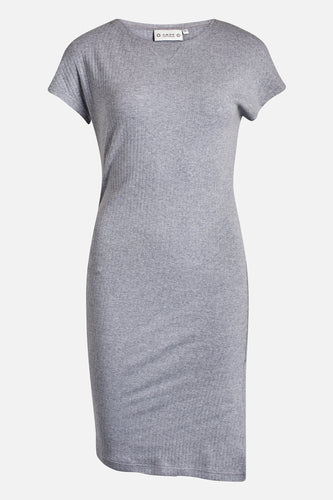 Ane Rib Dress Light Grey Melange