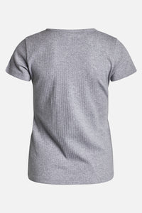 Ditte Rib Tee Light Grey Melange
