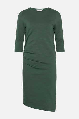 Charlot Slub Dress Bottle Green