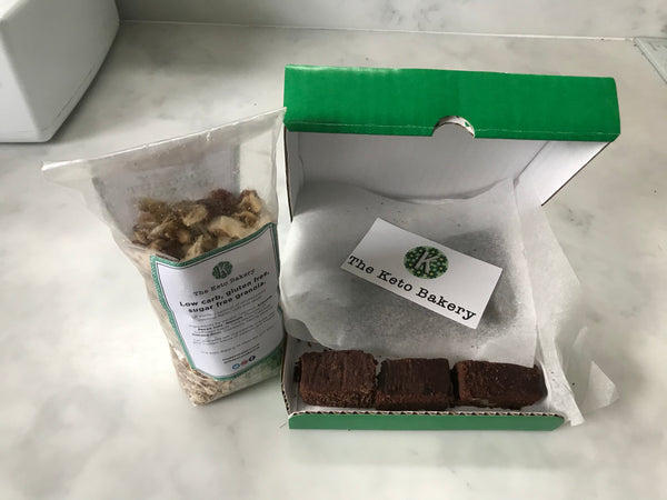 Pack of the Keto Bakery Granola alongside a box of Chocketos