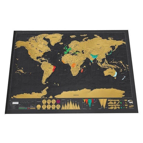 Deluxe World Travel Map (Scratch Erase)