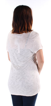 Ivory Embroidered Short Sleeve Keyhole Top