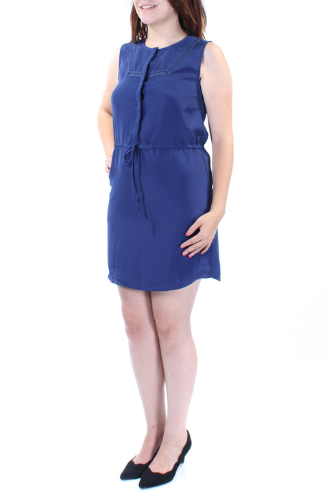 Navy Tie Sleeveless Crew Neck Mini Sheath Dress