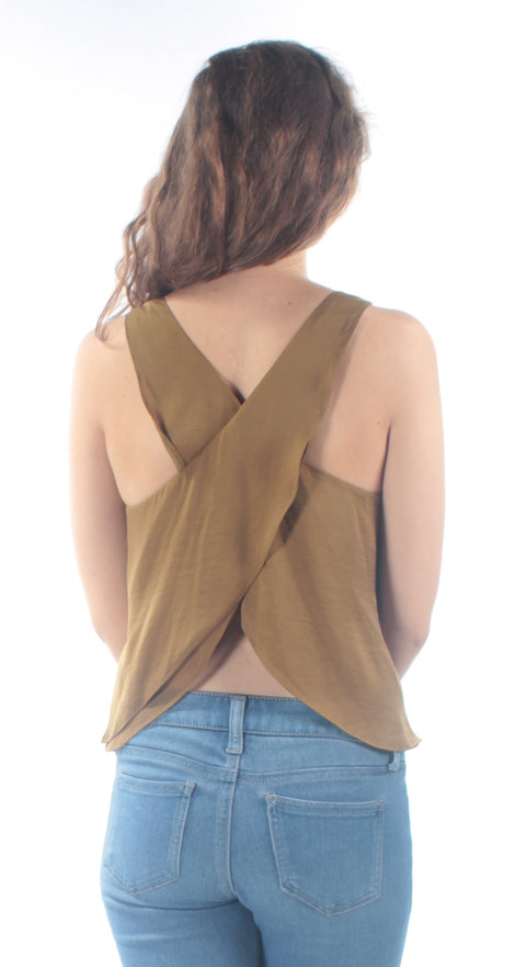Green Cross Back Sleeveless Scoop Neck Top