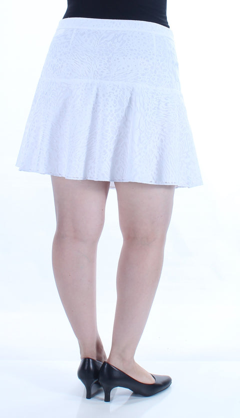 White Lace Animal Print Above The Knee A-Line Skirt