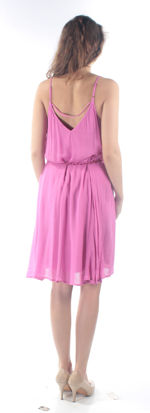 Pink Tie Spaghetti Strap Scoop Neck Above The Knee Fit + Flare Dress