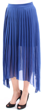 Blue Accordion Pleated Maxi Trapeze Skirt