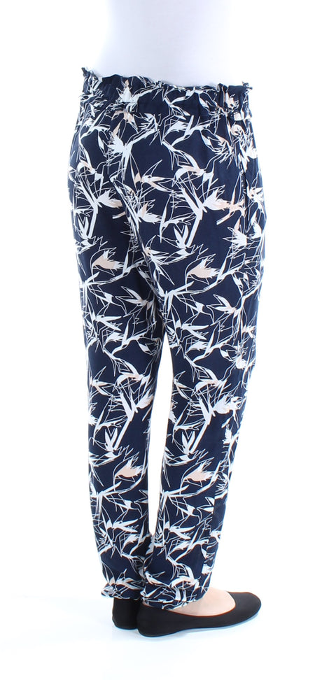 Navy Pocketed Printed Pants