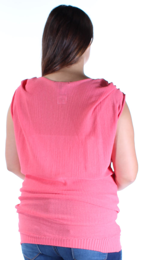 Coral Frayed Cap Sleeve Jewel Neck Top