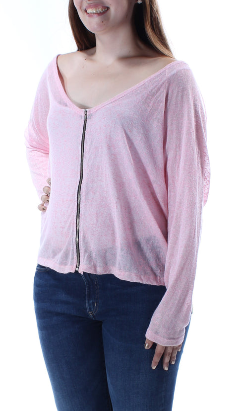 Pink Sheer Long Sleeve Scoop Neck Top