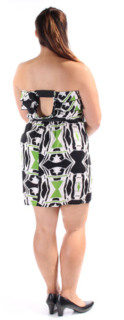 Green Belted Printed Sleeveless Strapless Above The Knee Dress