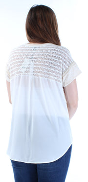 Beige Eyelet Short Sleeve Jewel Neck Top
