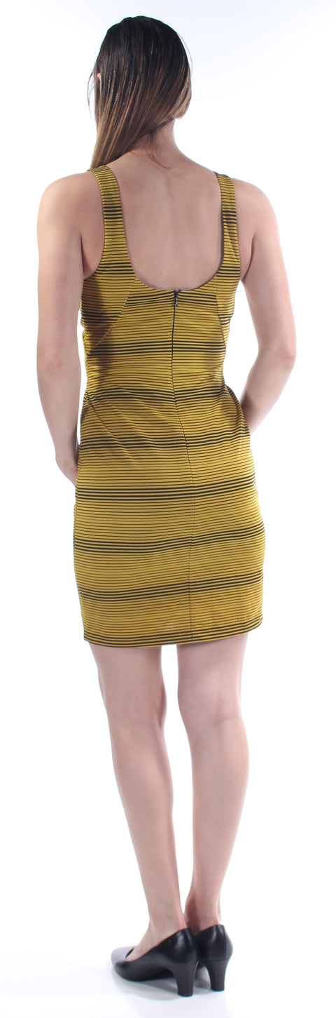 Yellow Striped Sleeveless Jewel Neck Above The Knee Body Con Dress