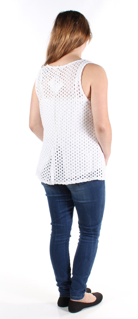 White Distressed Sleeveless Scoop Neck Top