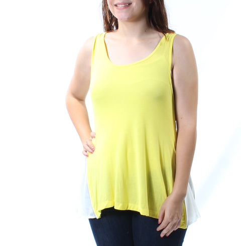 Yellow Zippered Sleeveless Scoop Neck Trapeze