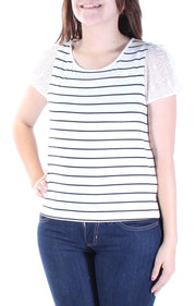 White Embroidered Striped Short Sleeve Jewel Neck T-Shirt
