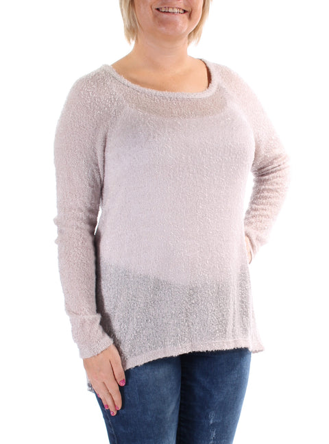 Gray Pleated Long Sleeve Jewel Neck Sweater