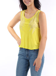 Yellow Embroidered Sleeveless Jewel Neck Top