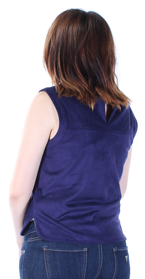 Navy Faux Suede Sleeveless Scoop Neck Top