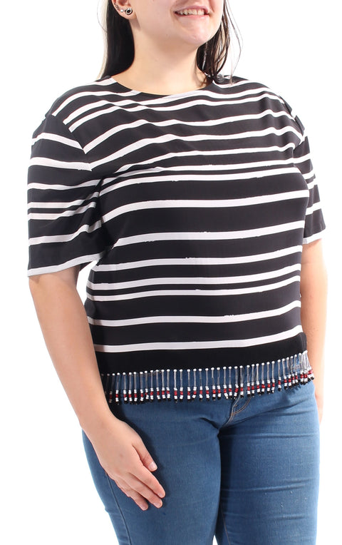 Black Beaded Striped Short Sleeve Jewel Neck Tunic