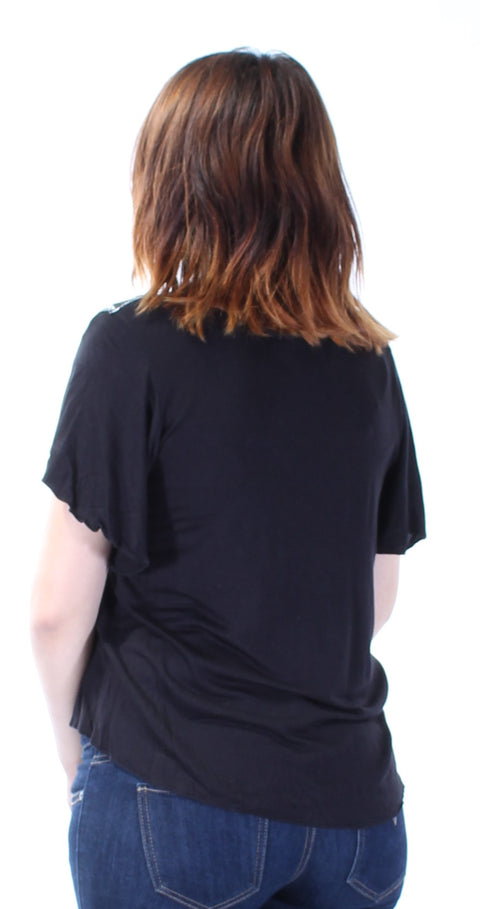 Black Embroidered Short Sleeve Scoop Neck Top