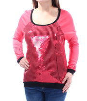 Red Sequined Long Sleeve Jewel Neck Top