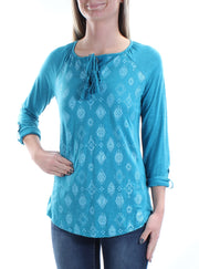 Teal Tie Tribal Cuffed V Neck Top