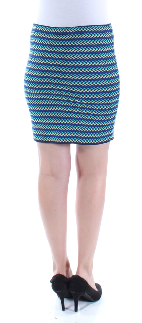 Blue Chevron Above The Knee Pencil Skirt