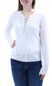Ivory Tie Textured Long Sleeve V Neck Top