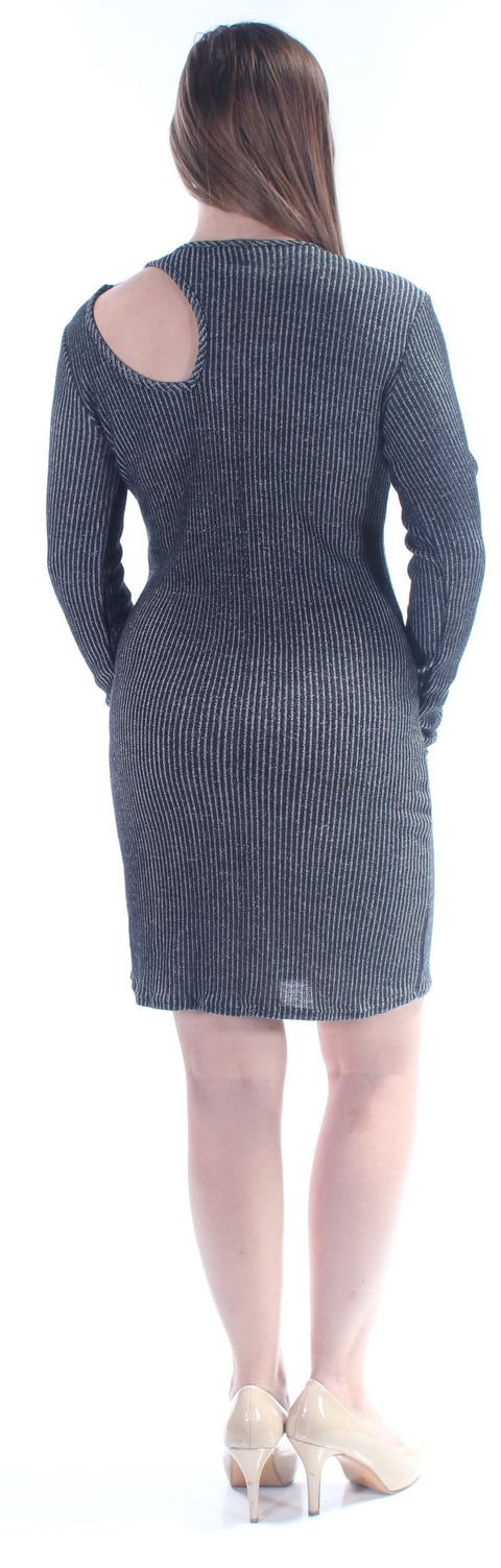Black Cut Out Pinstripe Long Sleeve Jewel Neck Above The Knee Dress
