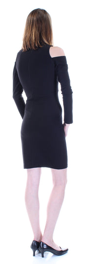 Black Cut Out Long Sleeve Crew Neck Above The Knee Sheath Dress