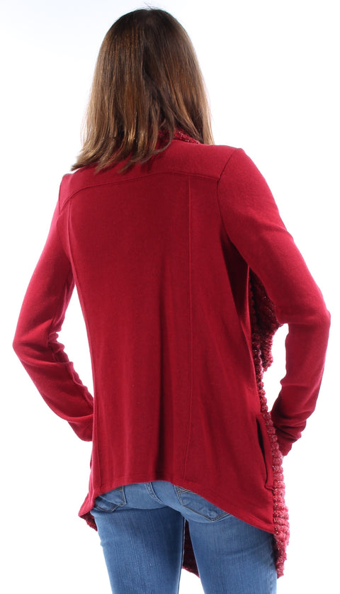 Red Textured Long Sleeve Open Sweater