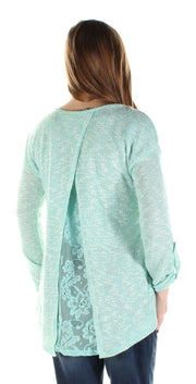 Aqua Sheer Sheer Long Sleeve Jewel Neck Hi-Lo