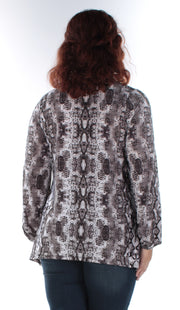 Gray Pocketed Animal Print Long Sleeve V Neck Trapeze