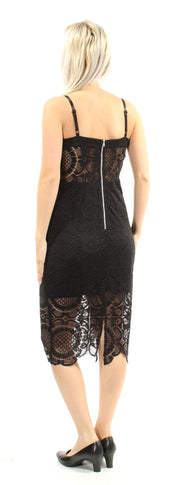 Black Lace Sheer Spaghetti Strap Sweetheart Neckline Below The Knee Party Dress