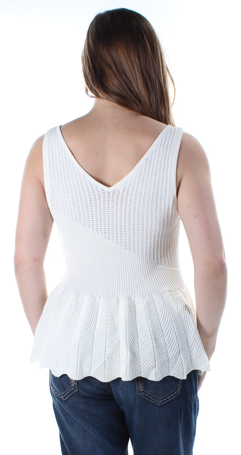 Ivory Sleeveless V Neck Sweater